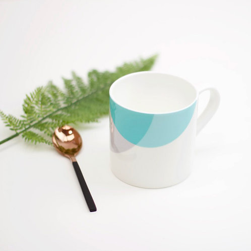 Teal|Grey Dip Bone China Mug