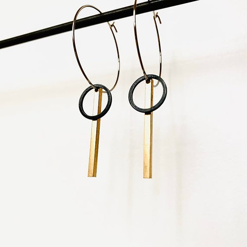 Black & Gold Contemporary Earrings