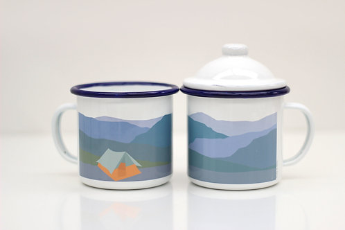 Weekend Explorer |  Tent Enamel Mug With Lid