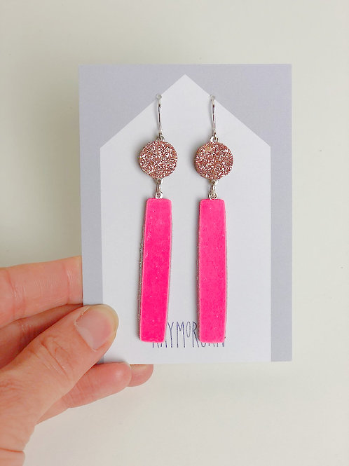 Long Block Earring - Pink Glitter/Hot Pink