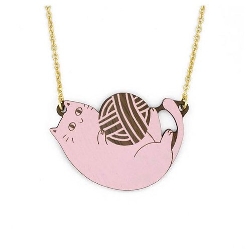 Playful Cat Pink Necklace