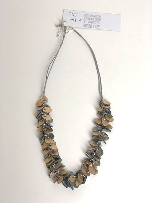 Oval Punch Leather Necklace - Gold