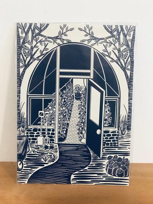 Blue Greenhouse Print - A4