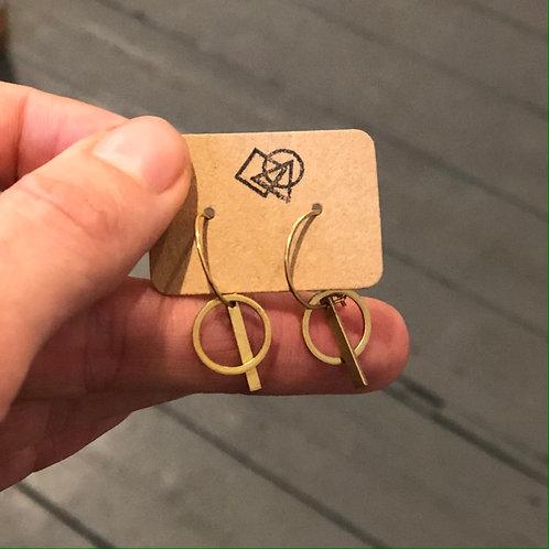 Mini raw brass circle & line on small brass hoops (nickel free)