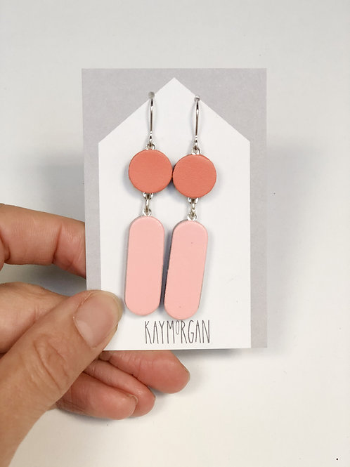 Block Earrings -Orange/Pink