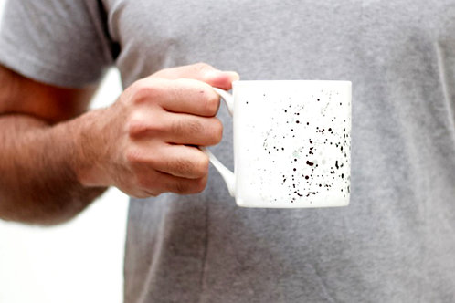 Black Splatter Bone China Mug