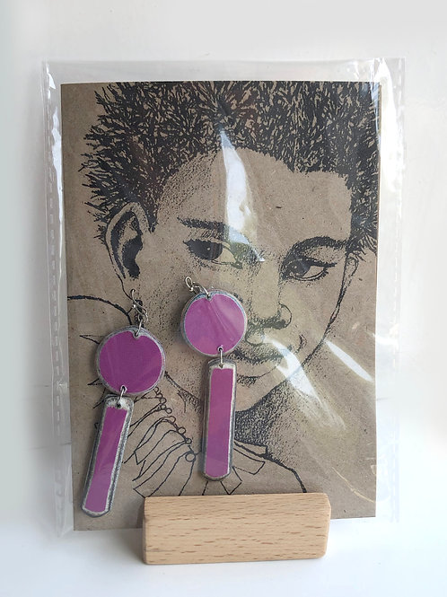 Handmade paper earrings - Pink