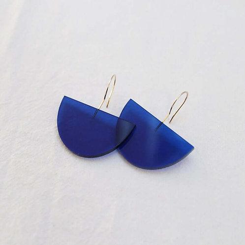 Semi Circle Drop Earrings - Blue