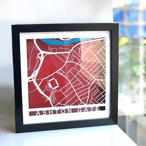 Ashton Gate Black Frame, White Roads, Red Background
