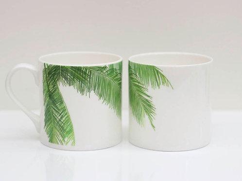 Tropical Palm leaf Bone China Mug