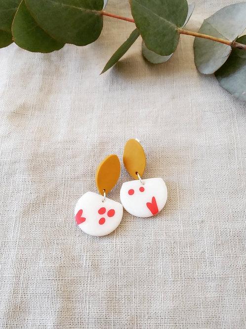 White/Red Dangle Earrings