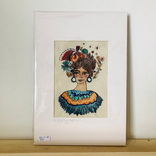 Woman with hoops Original Embroidery