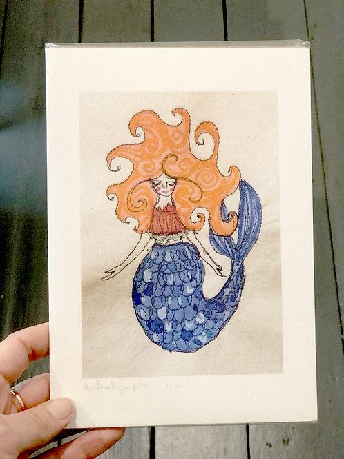 Mermaid with orange hair  Digital Print