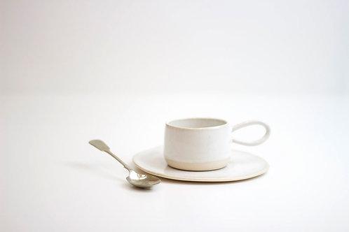 Handmade stoneware espresso cup and saucer