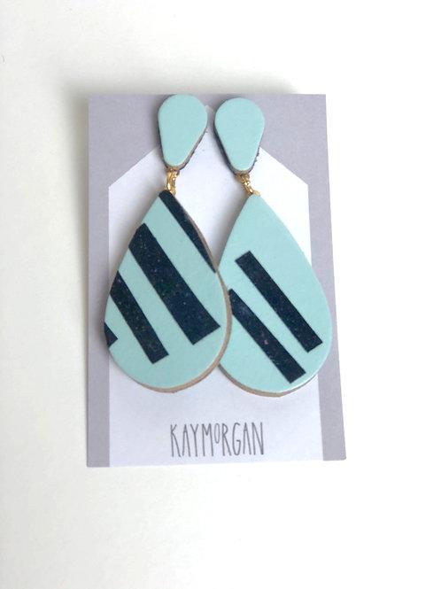Medium Tier Drop Earrings - Blue/Black