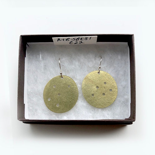 Brass Dotty Disc Earrings