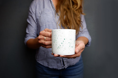 Teal Splatter Bone China Mug