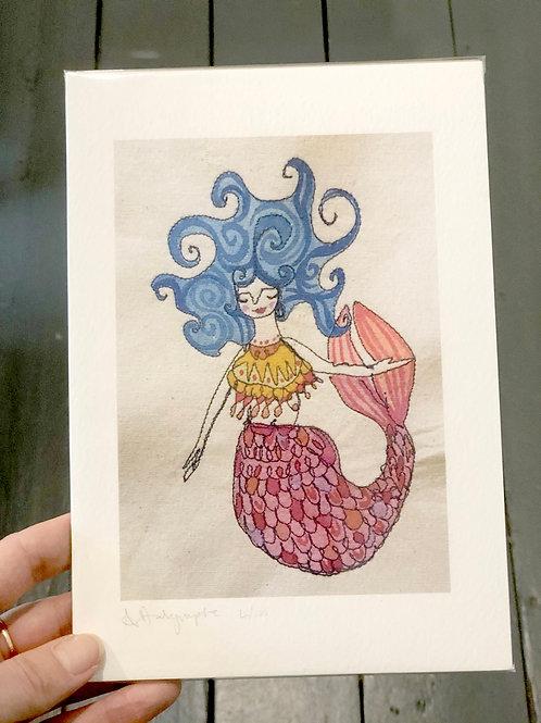 Mermaid with blue hair  Digital Print