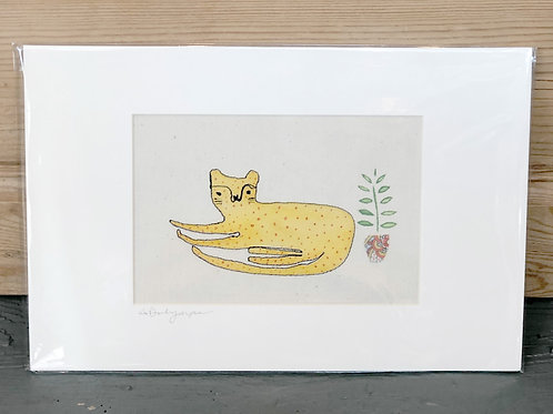 Embroidered & hand painted sitting Cheetah