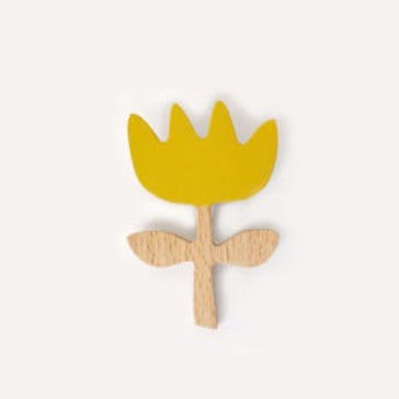 Flower Brooch - Olive / Yellow