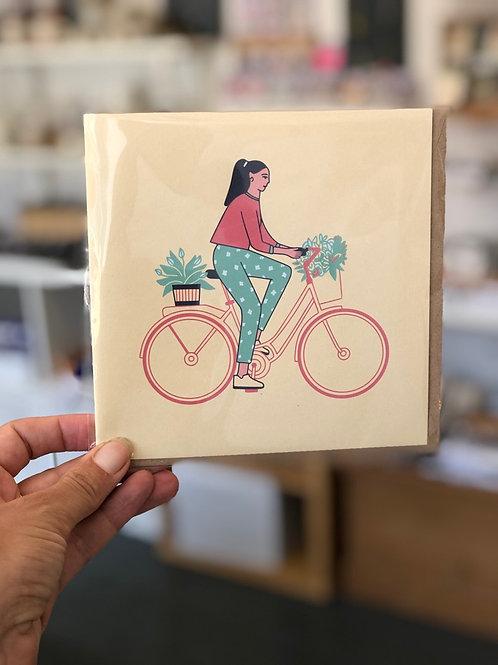 Woman on Bike Card