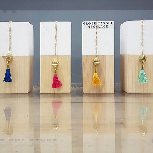Tassel Necklace with Brass Charm