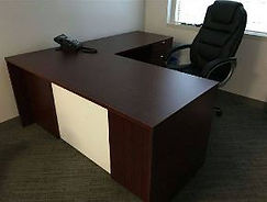 desk with return and frosted glass 66 inch