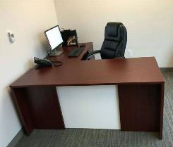 desk with white frosted glass 66 inch desk with return