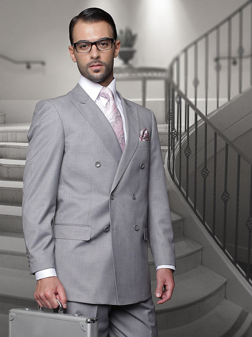 Grey Double-Breasted Suit