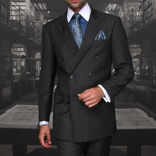 Dark Charcoal Double-Breasted Suit