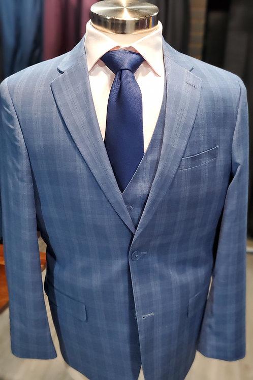 Blue Plaid 3 piece suit