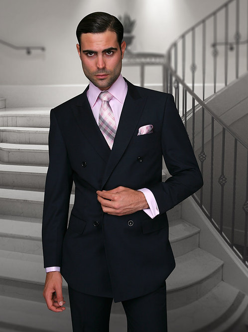 Navy Double-Breasted Suit