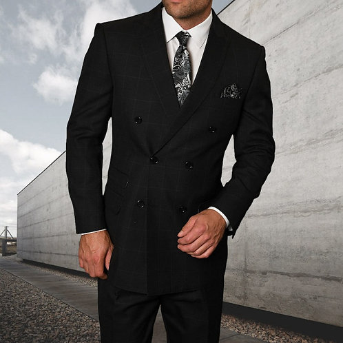 Black Double-Breasted Suit