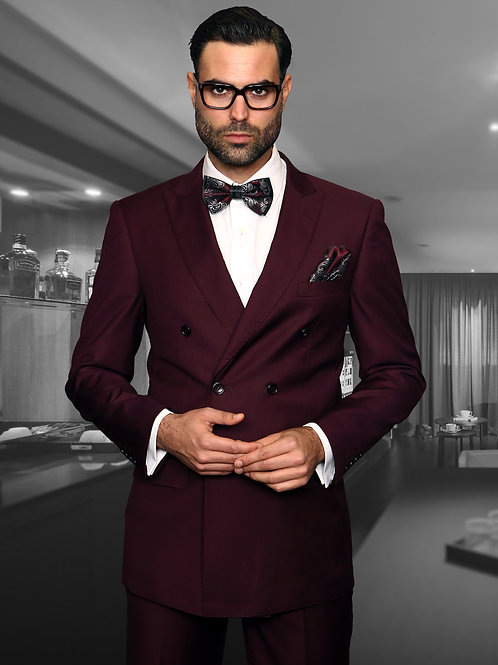 Burgundy Double-Breasted Suit