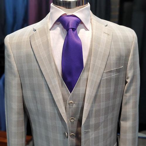 Tan Plaid 3 piece suit