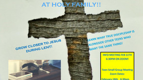 Lenten faith study opportunity for Youth!