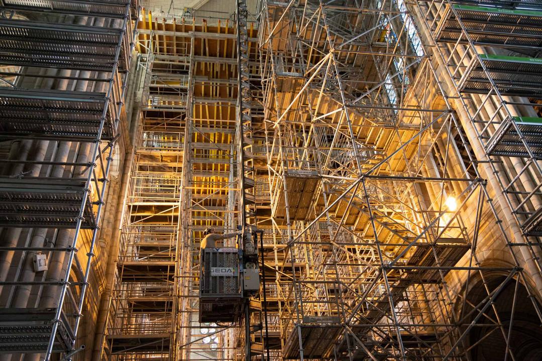 Travaux de reconstruction de la Basilique Saint Donatien