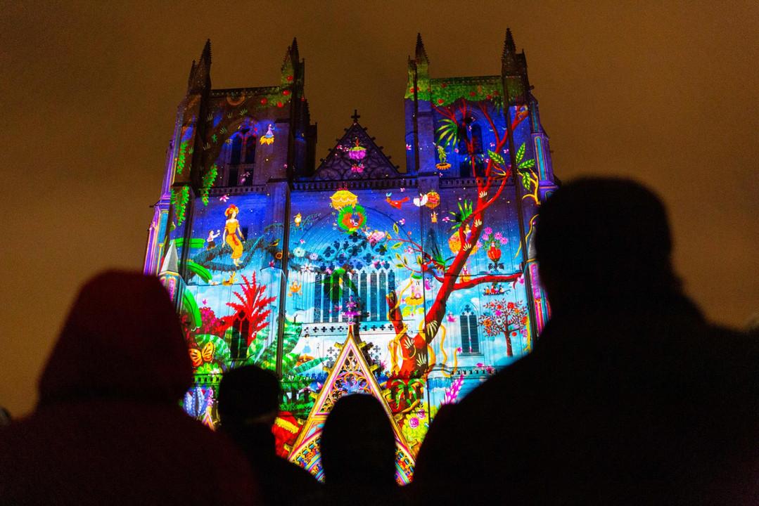 Spectacle son et lumière LUCIA sur la cathédrale de Nantes