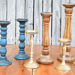 Candle Sticks - Wood, Teal, Gold