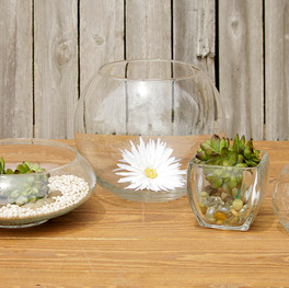Glass Centerpieces: Shallow or Large Bubble shaped