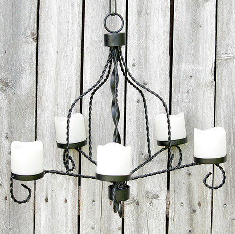 Black Flameless Candle Chandelier