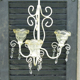 White Shabby Chic Chandelier with Crystal Beads