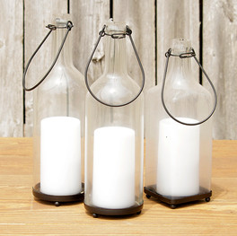 Flameless Candles In Wine Bottles