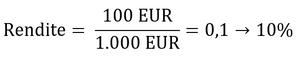Eingesetzte Formel zur Berechnung der Rendite.