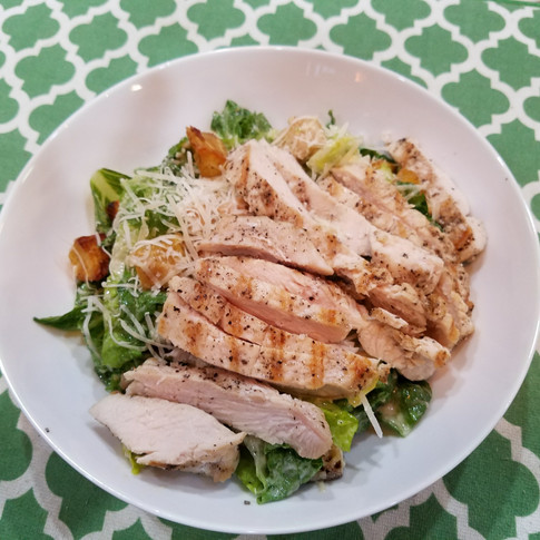 Caesar Salad with Pan Grilled Chicken and Sweet Potato