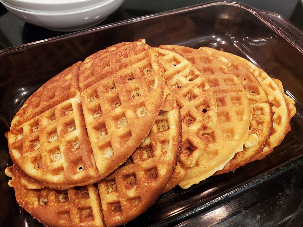 Golden Delicious Sourdough Cornbread Waffles