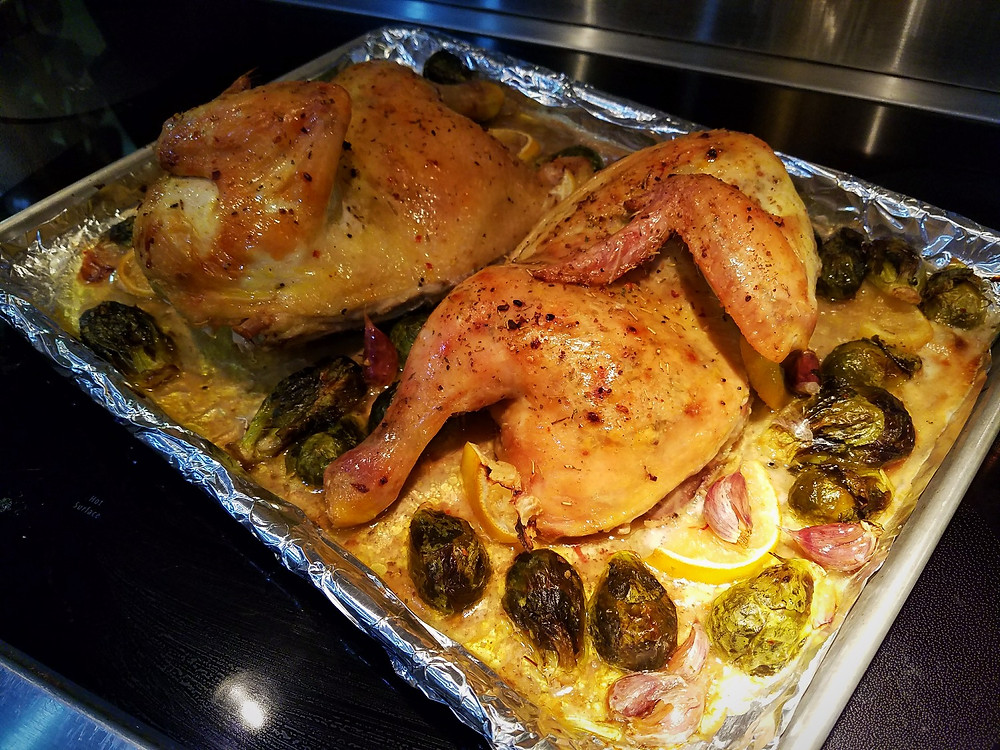 Lemon-Garlic Roasted Half Chicken with Brussels Sprouts