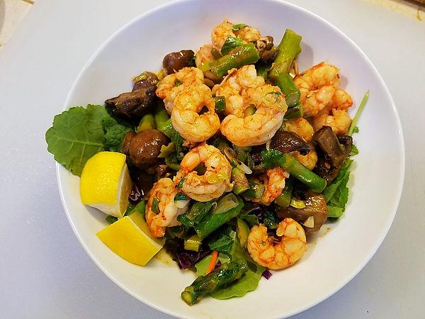 Asparagus, Shrimp &Mushroom Skillet Salad