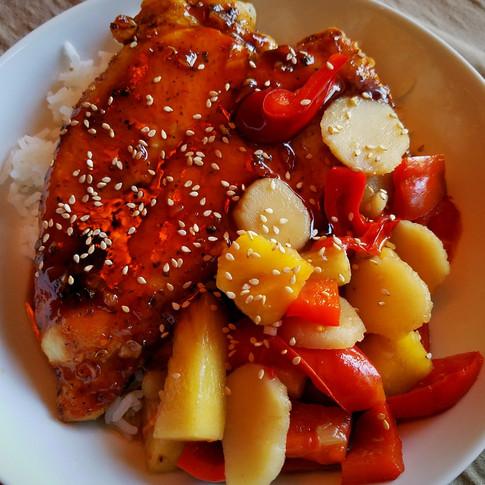 Szechuan Firecracker Chicken with Bell Pepper Pineapple Stir-fry