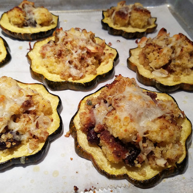 Roast Acorn Squash with Holiday Stuffing